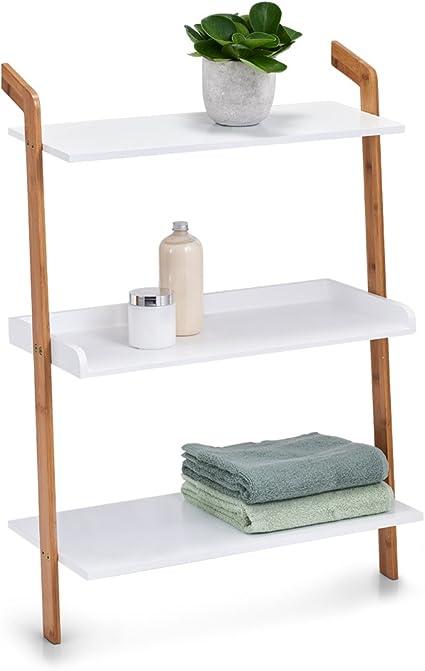 Escalera de estantería M. 3 baldas, bambú/MDF, Color Blanco ...