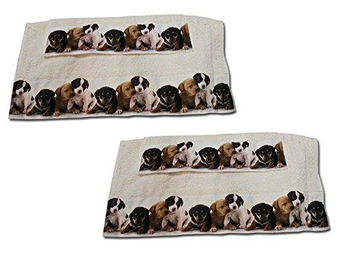 SET 2 COPPIE Asciugamano + Ospite in SPUGNA DI COTONE Bordata con stampe cuccioli-CANI colore PANNA Euroricami Viterbo