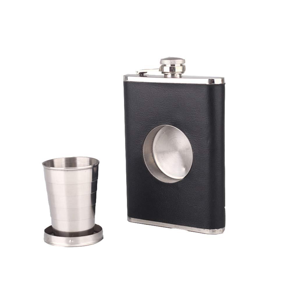 Lzhy Flasque en Acier Inoxydable avec coupelle Pliante, Manteau Noir 8OZ