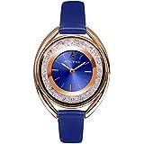 Rhinestone Waterproof Lady Quartz Watch Fashion Leather Women Watch Casual Ellipse Rose Gold Wrist Watch (Blue)
