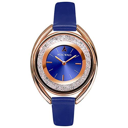 Waterproof Lady Leather Quartz Watches 34mm Fashion Rhinestone Dial Slim Women Watch Casual Oval Rose Gold Wristwatch