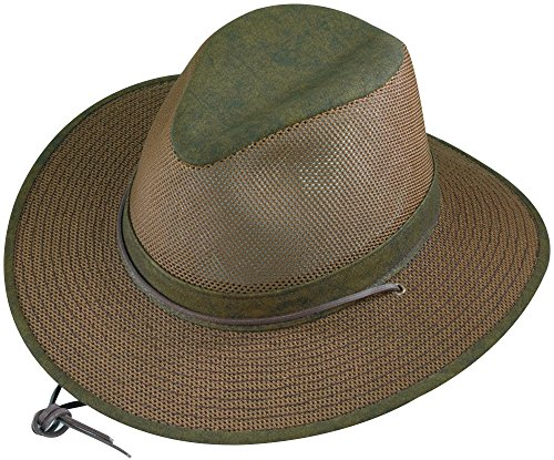 [Henschel Aussie Packable Mesh Breezer Hat (Distressed Gold, Large)] (Straw Safari Hat)