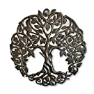 Tree of Life Metal Wall Art, Contemporary Iron Artwork Decor, Celtic Family Trees, 23 x 23 inches Round Modern Plaque, Handmade in Haiti,Fair Trade Certified
