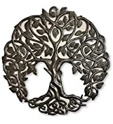 Tree of Life Metal Wall Art, Contemporary Iron Artwork Decor, Celtic Family Trees, 23 In. x 23 In...