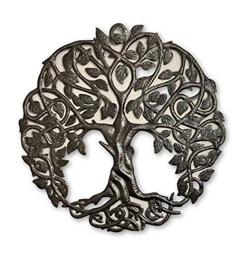Tree of Life Metal Wall Art, Contemporary Iron Artwork Decor, Celtic Family Trees, 23 in. x 23 in. Round Modern Plaque, Handmade in Haiti,Fair Trade Certified, Signed by Wilson Etienne (Tree Metal Wall Hanging)