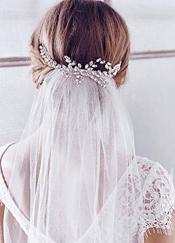 Barogirl Wedding Veil Comb Bridal Cathedral Veil 1 Tier Drop Veil Wedding Rhinestones Hair Comb for Brides, 118 Inches (White-Rhinestones) -