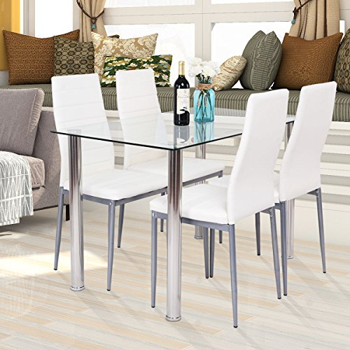 HAPPYGRILL 5-PCS Dining Table Chair Set, Tempered Glass Top Table and PVC Leather Chair Set for Room Kitchen