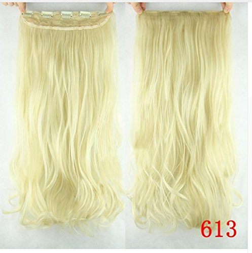 dolly2u 60cm Synthetic Clip In Hair Extension Heat Resistant Hairpiece Natural Curly Wavy Hair