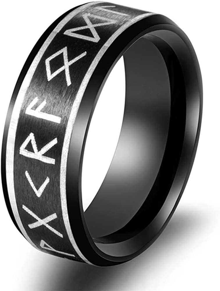 FLYUN Fashion Gothic Rings Alchemy Viking Ring Rune Black Stainless Steel Amulet Vintage Odin Norse Jewelry for Men Women - Nickel Free