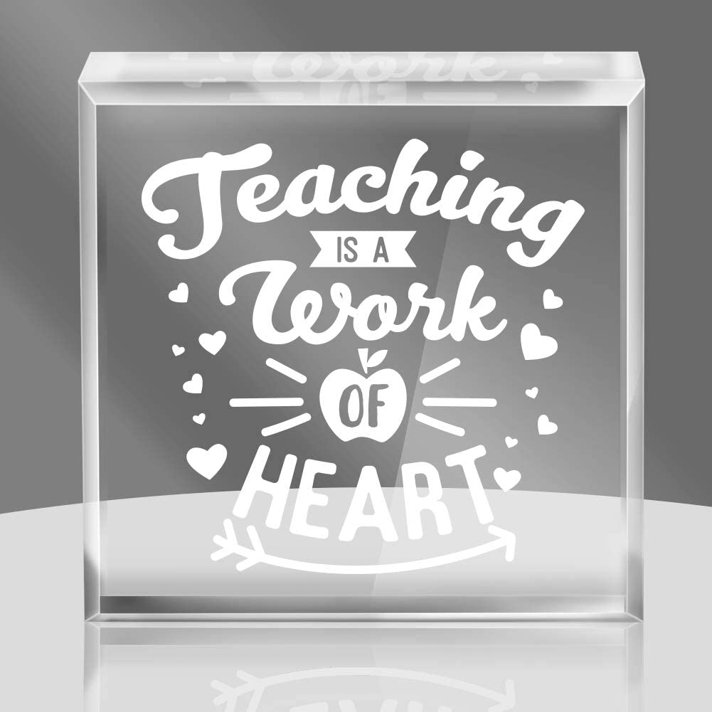 Hohomark Teaching Is a Work of Heart Keepsakes and Paperweight Appreciation Gifts for Teacher, 4''x 4'' Thanksgiving Gifts for Teachers