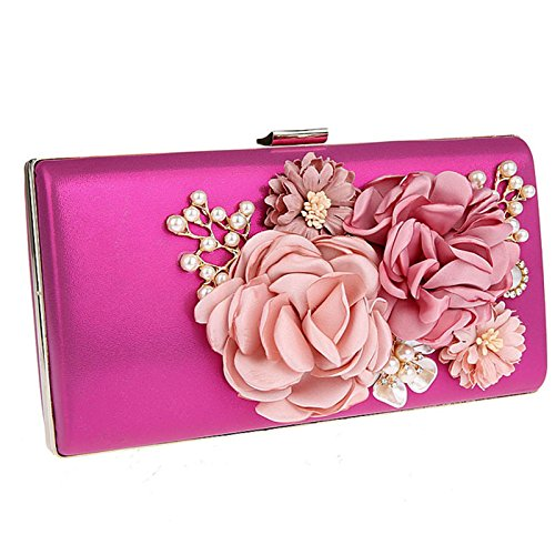 (Womens Special Occasion Clutch Purse Floral Jeweled Evening Handbags Magenta)