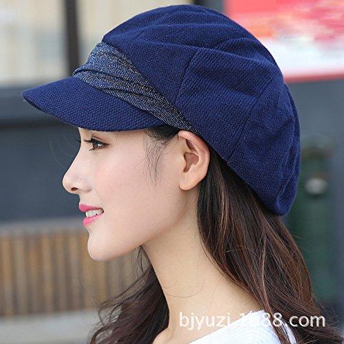 Dark bluee Women's Adjustable Beach Floppy Sun Hat