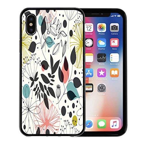 Semtomn Phone Case for Apple iPhone Xs case,Colorful Pattern Beautiful Fantasy Flowers and Leaves Abstract Graphic Scandinavian for iPhone X Case,Rubber Border Protective Case,Black ()