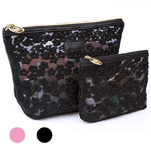 Zakaco Makeup Bag for Women,Small Cosmetic Bag Pouch Purse Handbag Organizer with Zipper (Black)