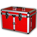 JUMBL™ Alligator Faux Grain Leather Cosmetic/Jewelry Train Case - Red
