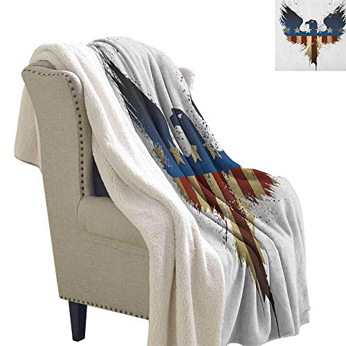 Eagle Blanket for Sofa Couch Bed The American Flag on Silhouette of National Bird of The Country Majestic Animal Blanket Small Quilt 60x47 Inch Blue Red Sepia