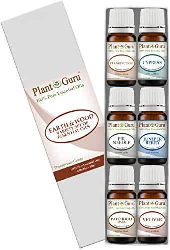 Earth & Wood Essential Oil Variety Set Kit - 6 Pack - 100% Pure Therapeutic Grade 10 ml. Includes Frankincense, Cypress, Fir Needle, Juniper Berry, Patchouli, Vetiver.