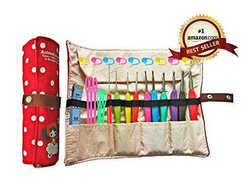 Ergonomic Crochet Hooks with Grips,Crochet Hook Case Organizer Roll Up,Crochet Kit,9pcs Comfort Grip Crochet Needles