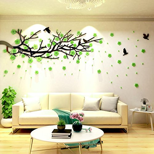 "Spring Country 3D Green Flower Branch Stickers 20"" x 60"" 