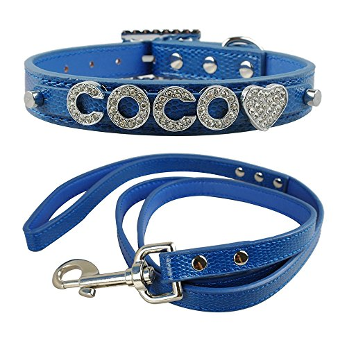 Didog(TM)Personalized Small Girl & Boy Dog Collar & Leash Set with Free Customized Bling Name Letters and Charms for YoRkshire Terrier, Shih tzu(Blue,S 10-12