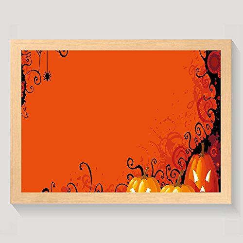 Haixia Spider Web Three Halloween Pumpkins Abstract Black Web Pattern Trick Or Treat Decorative Orange Marigold Black Warm And Sweet Home Decorations Wall Art Painting Wood With (Halloween Trick Or Treat Definition)