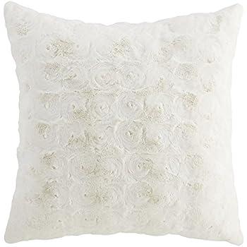 Elliz Luxury Ivory Roses Faux Fur Pillow 18 X18