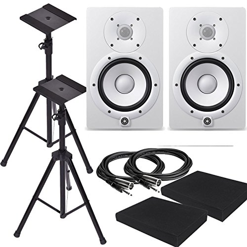 Yamaha HS8W 8-Inch Powered Studio Monitor Speaker White (Pair) with Pair of Height Adjustable Speaker Stands Tripod , High Density Studio Monitor Isolation Pads (Pair) and 2 x 10-Foot TRS to XLR Cable ()