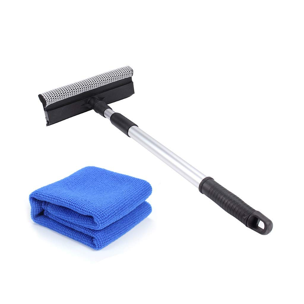 EFORCAR Window Squeegee, Double-Sided Window Cleaning Water Wiper Aluminum Alloy Telescoping Rod Removable Sponge and Rubber Scraper for Car Household Use