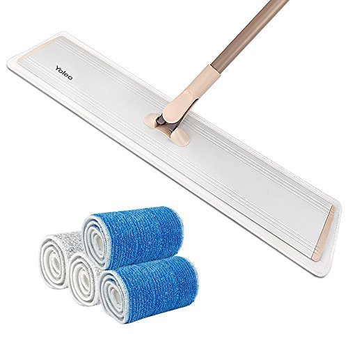 "24"" Microfiber Flat Mop Yoleo Heavy Duty Floor Mop with Alum"