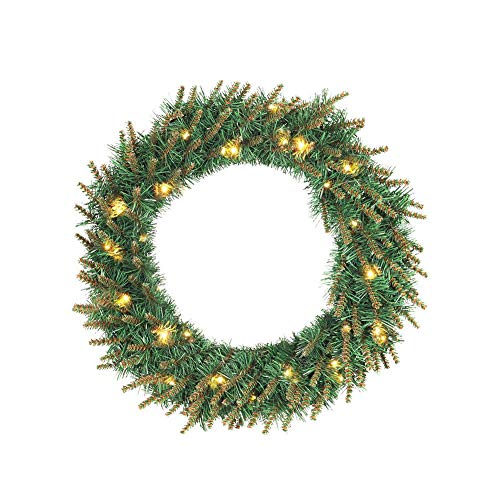 LianLe Christmas Green PVC Artificial Autumn Wreath with LED Light for Home Decoration Halloween Xmas Tree Hanging Decor by LianLe