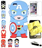 Bukit Cell 3D Superhero Bundle 4 Items: Captain America Cute Justice League Cartoon Soft Silicone Case for 5.5 Inch Iphone 6s Plus / 6 Plus + Cleaning Cloth + Screen Protector + Metallic Stylus Pen
