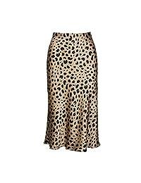 High Waist Leopard Midi Skirt Hidden Elasticized Waistband Silk Satin Skirts Slip Style Print Skirt Women