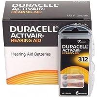 Duracell EasyTab/Activair Type 312Hearing Aid Batteries Zinc Air P312PR41ZL3Pack of 60