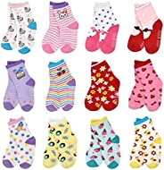 Toddler Socks With Grip Non-Skid 12 Pairs Baby Kids Sticky Slipper Cotton Crew Socks 1-3/3-5/5-7 Years Childre