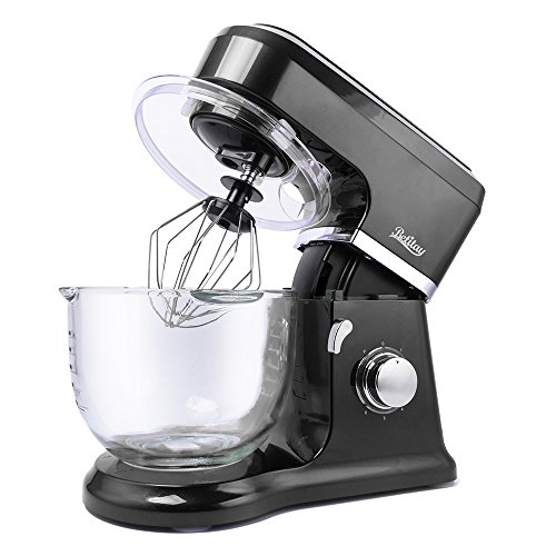 Betitay Stand Mixer 120V-60Hz/1400W, 4.0 QT Bowl, Glass Bowl with Mixing Beater, Egg Whisk, Dough Hook, and Silicone Spatula(Black/Glass)