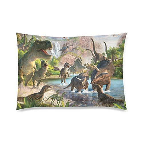 WECE Funny Dinosaur T-Rex Pillowcase - Kids or Baby Zippered Pillowcase, Cute Dinosaur Pillow Protector, Best Kids Baby Pillow Cover - Standard Size 20x30 inches, Twin-sided Print