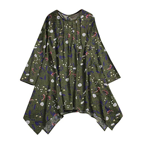 Clearance!Youngh 2018 New Womens Blouses Folded Plus Size Vintage Floral Print Blouses Irregular Loose Long Sleeve cotton Fashion Blouse T Shirt Tops by Youngh Top