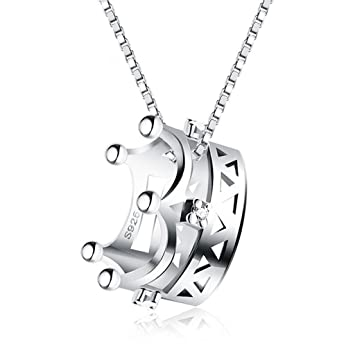 LAAN Collar - Corona de la Princesa 925 Collar de Plata esterlina Colgante de la Moda