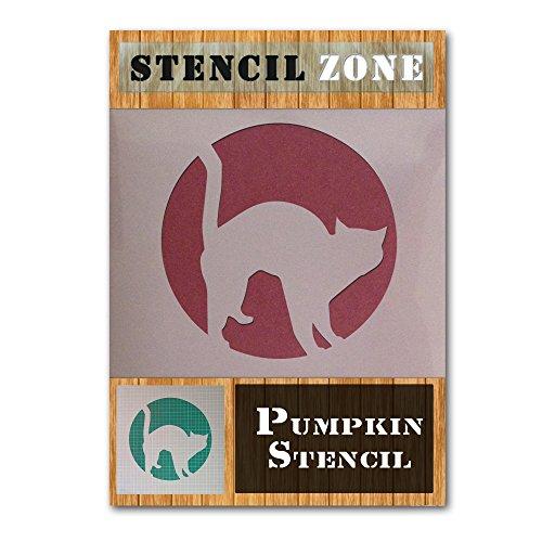 Cat Halloween Mylar Painting Pumpkin Wall Art Stencil Four (A4 Size Stencil - Small)