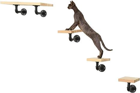 MOUHIV Estantes para Gatos montados en la Pared Que Incluyen 1 Estante para Gatos y 3 escaleras para Gatos y 5 Soportes para Tubos Pasos para Gatos ...