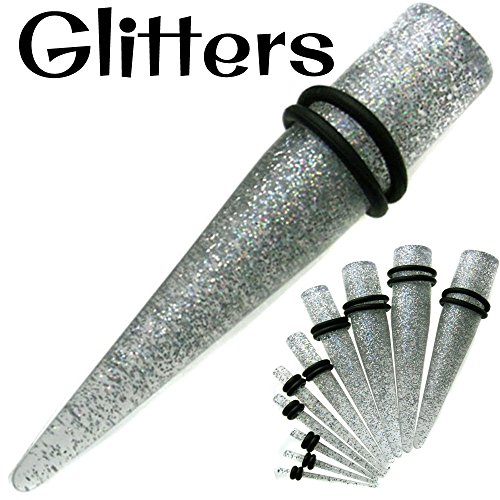 Clear Glitter with Black O-Ring Taper / Expander Plugs Acrylic Sold Pair TE2C (1/2' Clear Acrylic)
