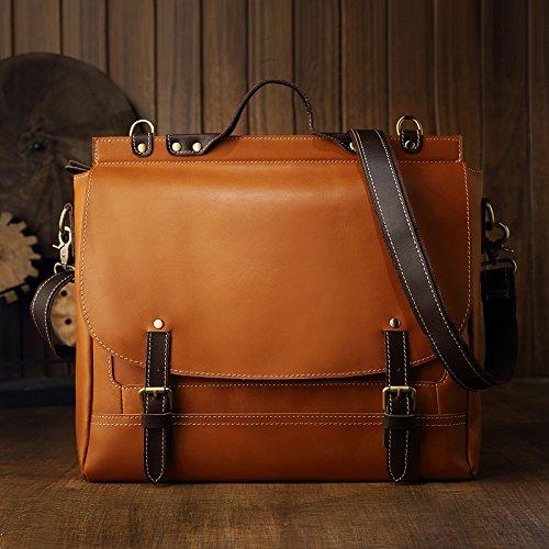 KEROUSIDEN Original Design First Layer of Leather Retro Mens Bag Korean Casual Leather Bag Shoulder Bag Messenger Bag Handbag 38 32 9CM
