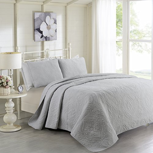 Solid color 3-Piece Quilt Set 100%Cotton, Bedspread Set, Finely Stitched, Coverlet Bed-cover, Washable Durable (King, Gray) (Durable Washable)