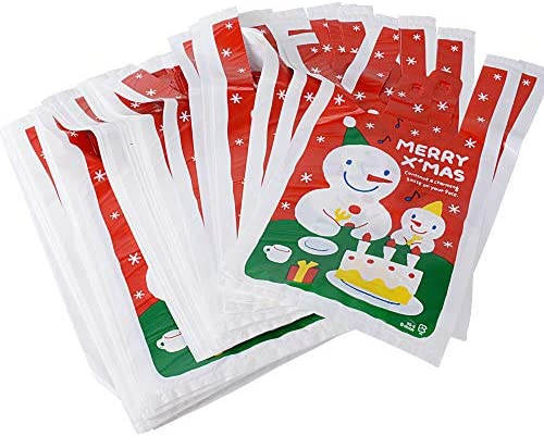 Packung mit 50 ECO Spielzeug Printed Red Plastic Tragetaschen Weihnachten