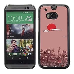 KLONGSHOP // Cubierta de piel con cierre a presión Shell trasero duro de goma Protección Caso - Tokio Amanecer - HTC One M8 //