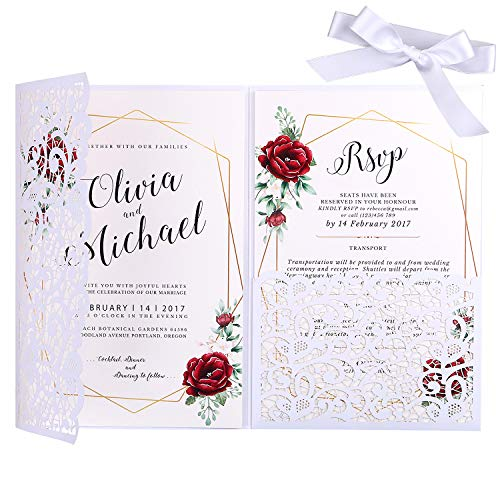 (PONATIA 20 PCS 5.1 x 7.2 '' Laser Cut 3 Folds Hollow Flowers Wedding Invitation Cards Set with White Ribbons Pearl Ppaer Envelopes For edding Bridal Shower Engagement Birthday Graduation Party (White))
