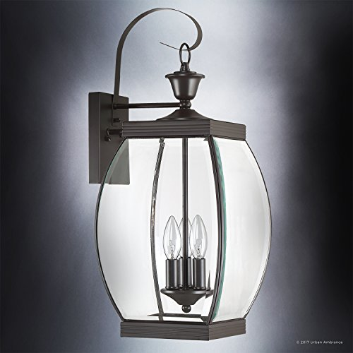Luxury Colonial Outdoor Wall Light, Large Size: 22.5''H x 9''W, with Transitional Style Elements, Bowed Design, Gorgeous Dark Medieval Bronze Finish and Beveled Glass, UQL1172 by Urban Ambiance by Urban Ambiance (Image #2)