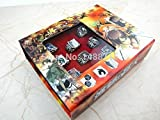 Monkey King 10pcs Comic Attack On Titan Scout Regiment Military Police Metal 8 Rings + Pendant High Value Box