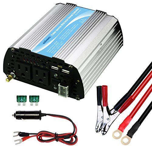 GIANDEL 400W Car Power Inverter 12V DC to 120V AC with Solar Charger 20A and 4.8A Dual USB and AC outlets with Cigarette Lighter & Alligator Clips Cables for Tablets Laptops and Smartphones