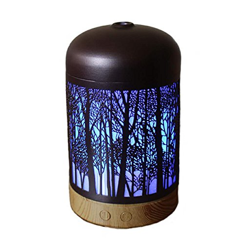 Vintage Retro Forest Design Essential Oil Diffuser Wood Grain Base Metal Sleeve 120ml Cool Mist Aromatherapy Diffusers 7 Color Night Light Ultrasonic Air Humidifier Home,Office, Yoga Room